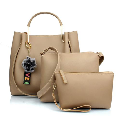 TMN Cream Combo Of Handbag With Sling Bag And Cosmetic Pouch
