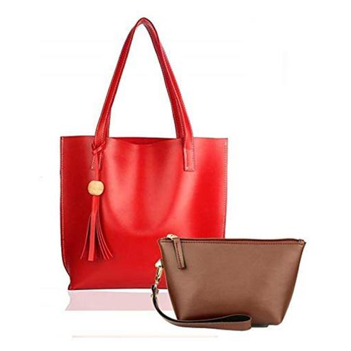 TMN Combo Of Red Tote Bag & Tan Pouch