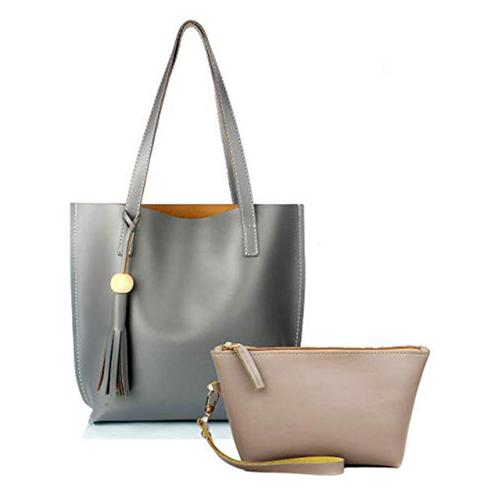 TMN Combo Of Grey Tote Bag & Cream Pouch