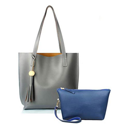 TMN Combo Of Grey Tote Bag & Blue Pouch