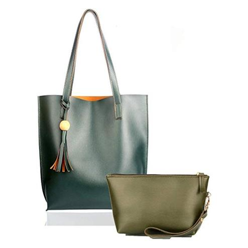 TMN Combo Of Green Tote Bag & Green Pouch