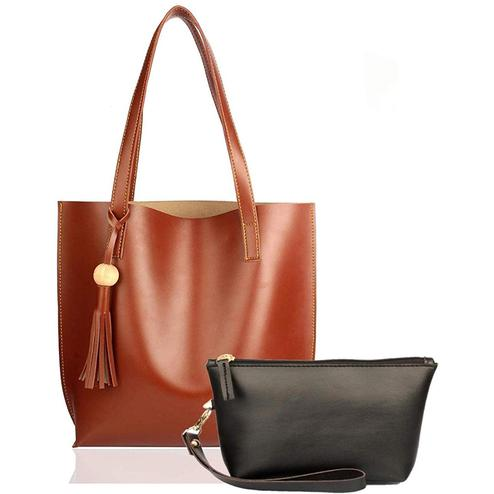 TMN Combo Of Tan Tote Bag & Black Pouch
