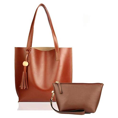 TMN Combo Of Tan Tote Bag & Tan Pouch