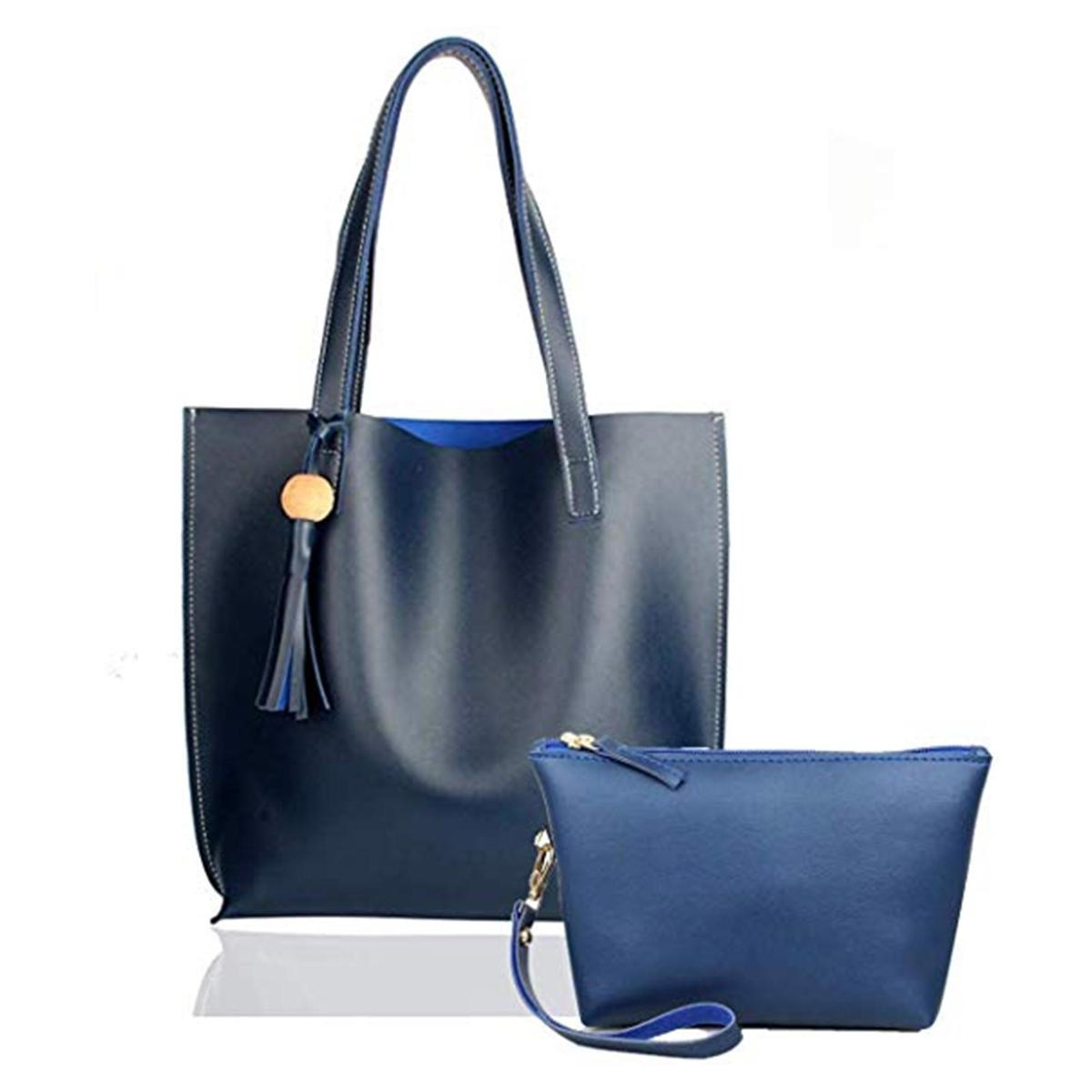 TMN Combo Of Blue Tote Bag & Blue Pouch