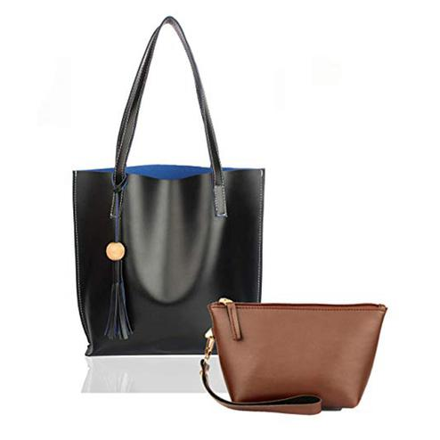 TMN Combo Of Black Tote Bag & Tan Pouch