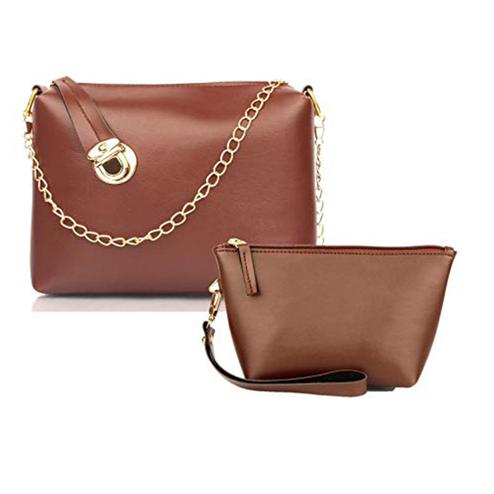 TMN Tan Golden Chain Sling Bag With Tan Cosmetic Pouch