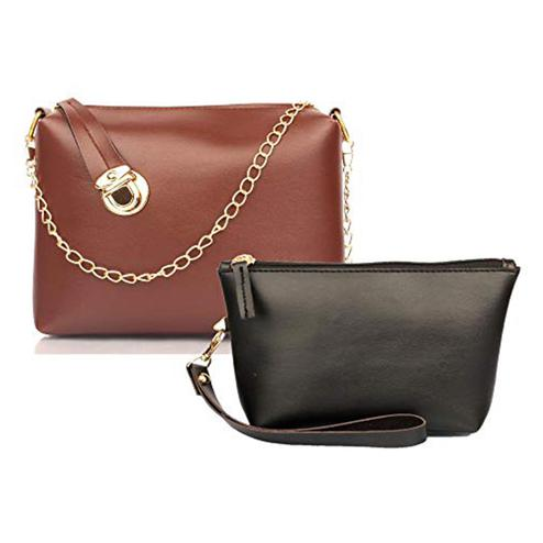 TMN Tan Golden Chain Sling Bag With Black Cosmetic Pouch