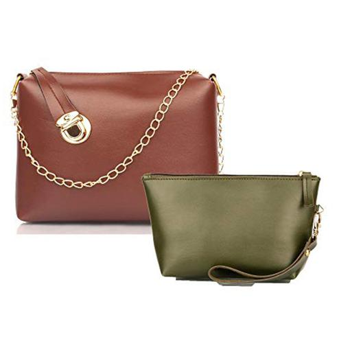 TMN Tan Golden Chain Sling Bag With Green Cosmetic Pouch