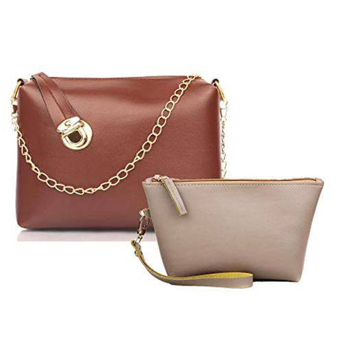 TMN Tan Golden Chain Sling Bag With Cream Cosmetic Pouch