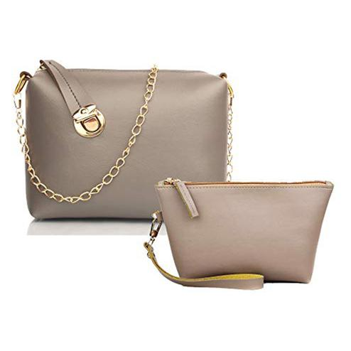 TMN Grey Golden Chain Sling Bag With Cream Cosmetic Pouch