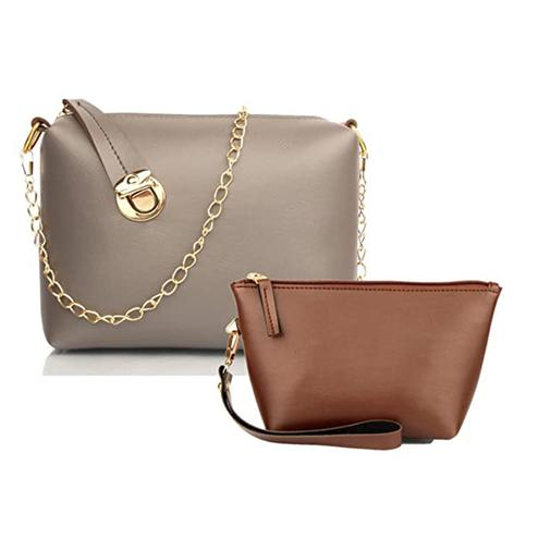 TMN Grey Golden Chain Sling Bag With Tan Cosmetic Pouch