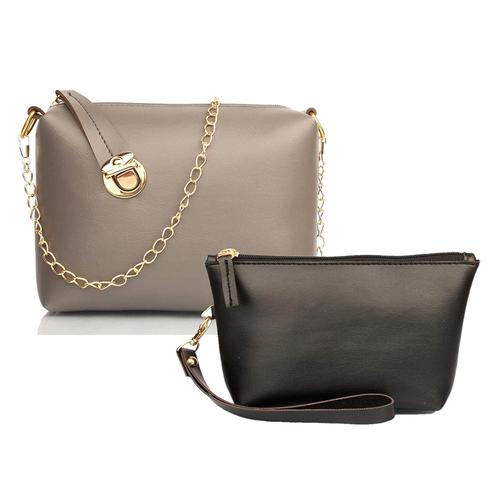 TMN Grey Golden Chain Sling Bag With Black Cosmetic Pouch