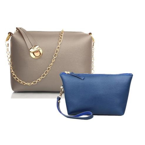 TMN Grey Golden Chain Sling Bag With Blue Cosmetic Pouch