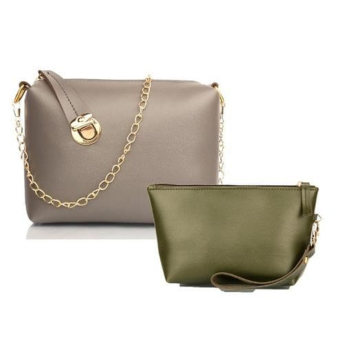 TMN Grey Golden Chain Sling Bag With Green Cosmetic Pouch
