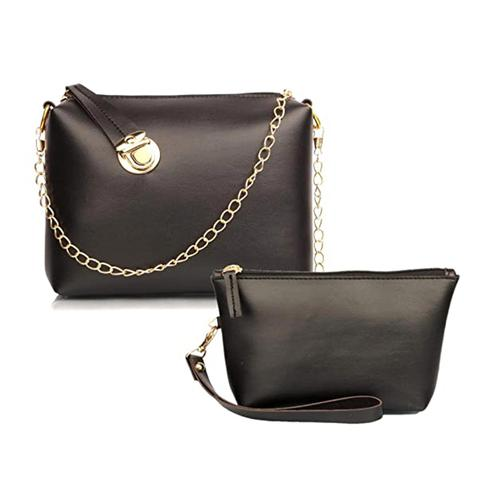 TMN Black Golden Chain Sling Bag With Black Cosmetic Pouch
