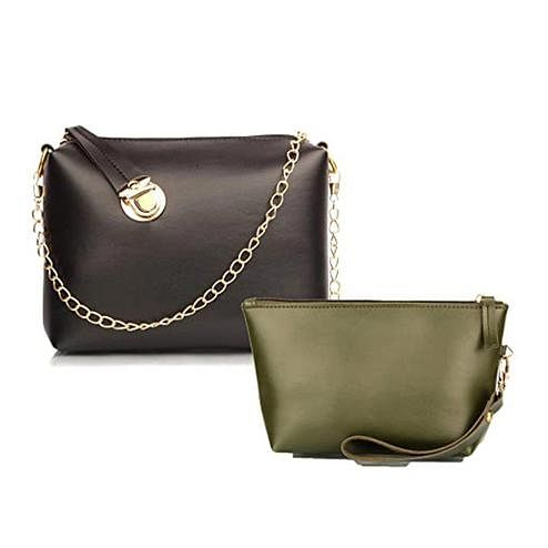 TMN Black Golden Chain Sling Bag With Green Cosmetic Pouch