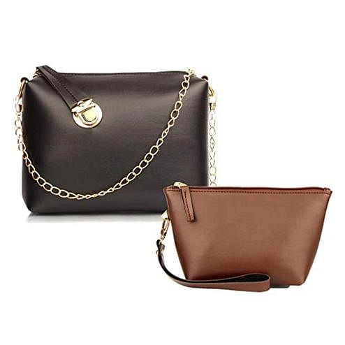 TMN Black Golden Chain Sling Bag With Tan Cosmetic Pouch