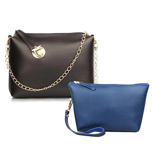 TMN Black Golden Chain Sling Bag With Blue Cosmetic Pouch