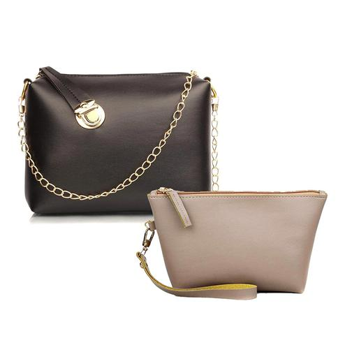 TMN Black Golden Chain Sling Bag With Cream Cosmetic Pouch