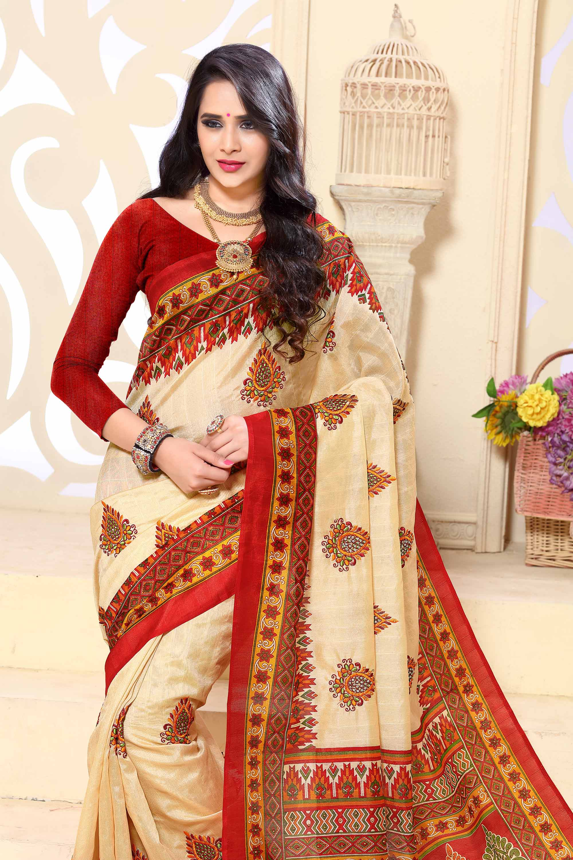 Beige - Red Print & Embroidered Silk Saree