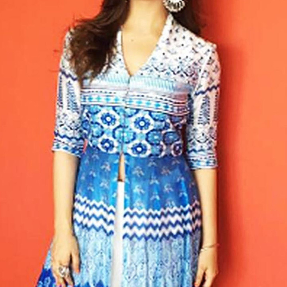White - Blue Premium Satin Kurti with Lehenga
