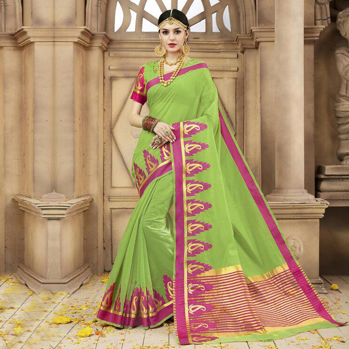 Green Festive Wear Silk Woven Saree