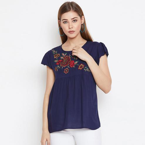 Beautiful Blue Colored Casual Wear Floral Embroidered Rayon Top