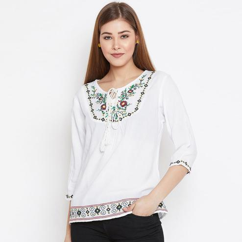 Blooming White Colored Casual Wear Floral Embroidered Rayon Top