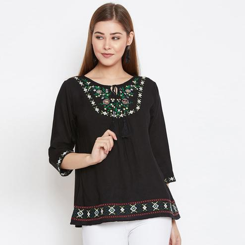 Charming Black Colored Casual Wear Floral Embroidered Rayon Top