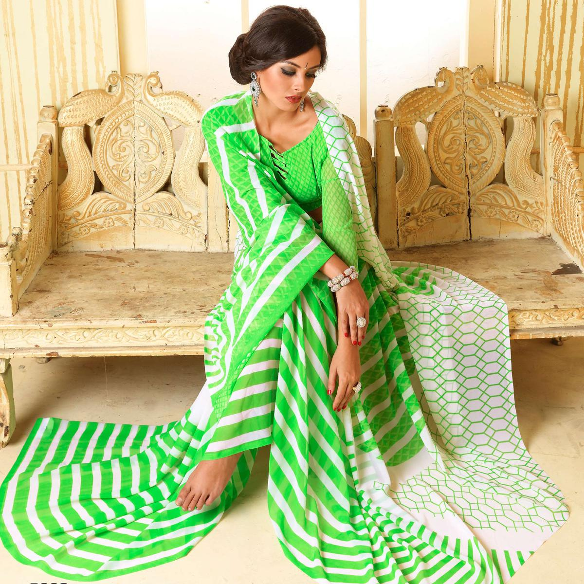 White - Green Printed Georgette Saree