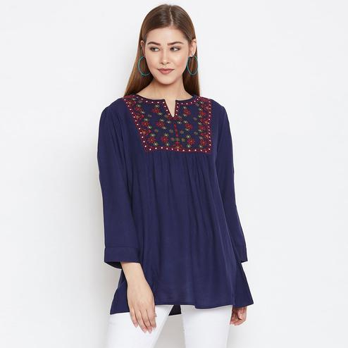 Eye-catching Blue Colored Casual Wear Floral Embroidered Rayon Top