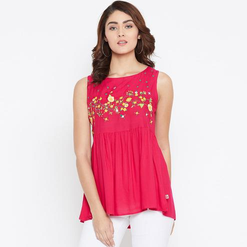 Amazing Pink Colored Casual Wear Floral Embroidered Rayon Top