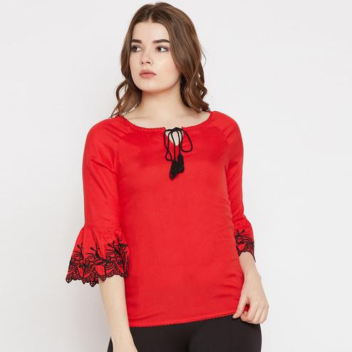 Imposing Red Colored Casual Wear Embroidered Rayon Top