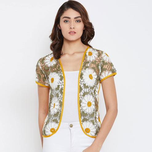 Surpassing Yellow Colored Casual Wear Self Design Lace Shrug