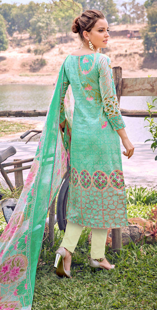 Turquoise Green Cotton Dress Material