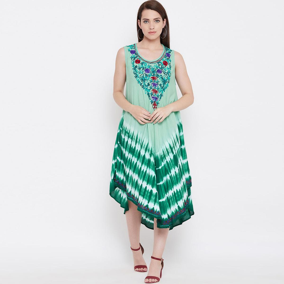 Desirable Green Colored Casual Wear Floral Embroidered Rayon Dress