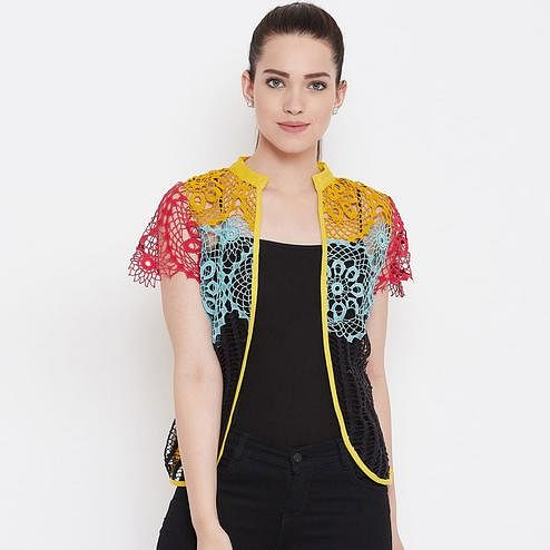 Glowing Yellow Colored Casual Wear Self Design Lace Shrug