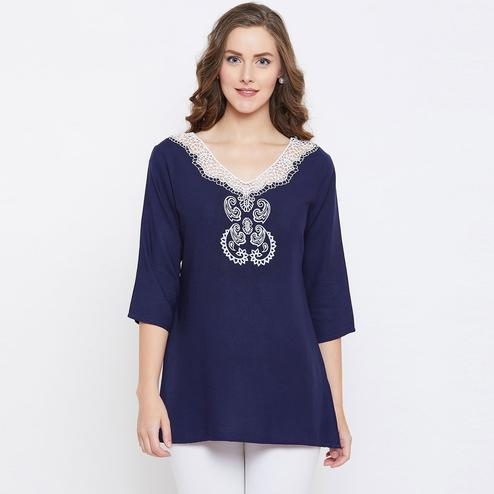Demanding Blue Colored Casual Wear Embroidered Rayon Top