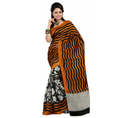 Orange - Grey Stripe Print Saree