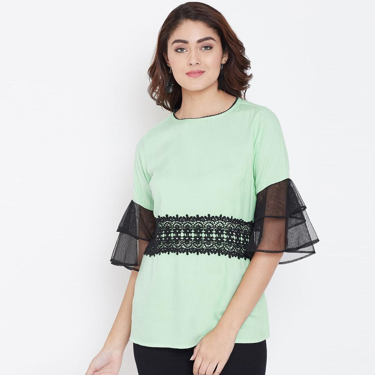 Sensational Pastel Green Colored Casual Wear Rayon Top
