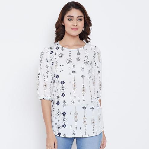 Groovy White Colored Casual Printed Crepe Top