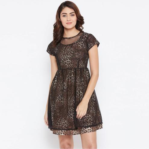 Delightful Brown Colored Casual Wear Self Design Crepe Dress