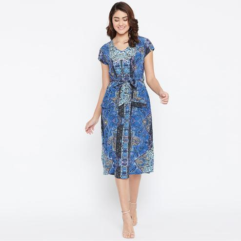 Engrossing Blue Colored Casual Wear Printed Crepe Dress