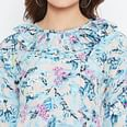 Innovative Blue Colored Casual Wear Floral Printed Crepe Dress