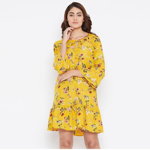 Eye-catching Mustard Yellow Colored Casual Wear Floral Printed Crepe Dress