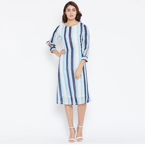 Gorgeous White-Blue Colored Casual Wear Striped Printed Georgette Dress