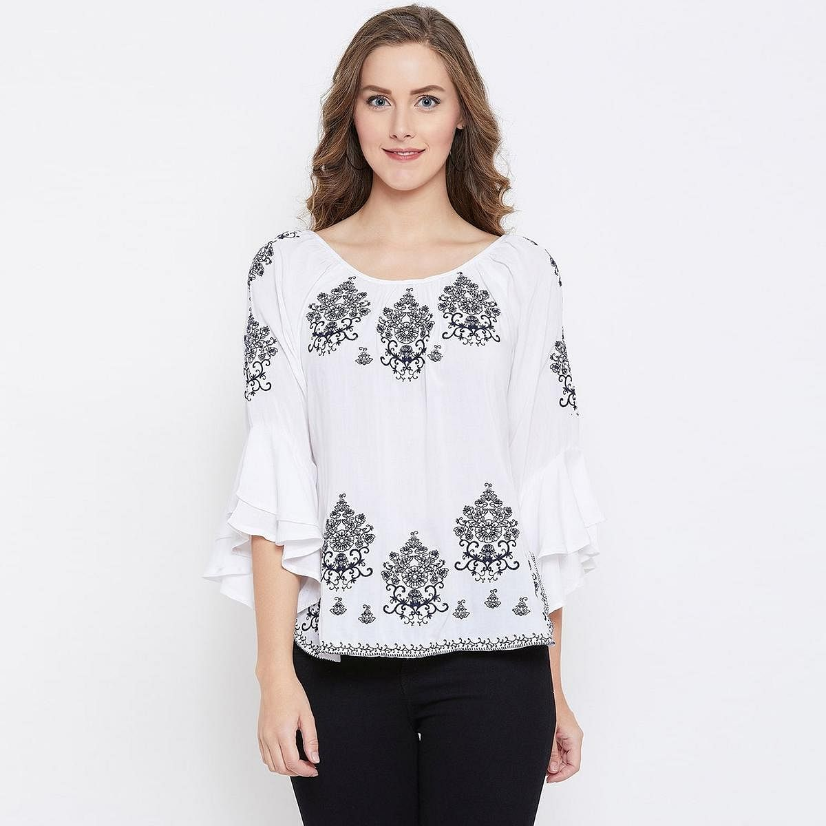 Impressive White Colored Casual Wear Embroidered Rayon Top