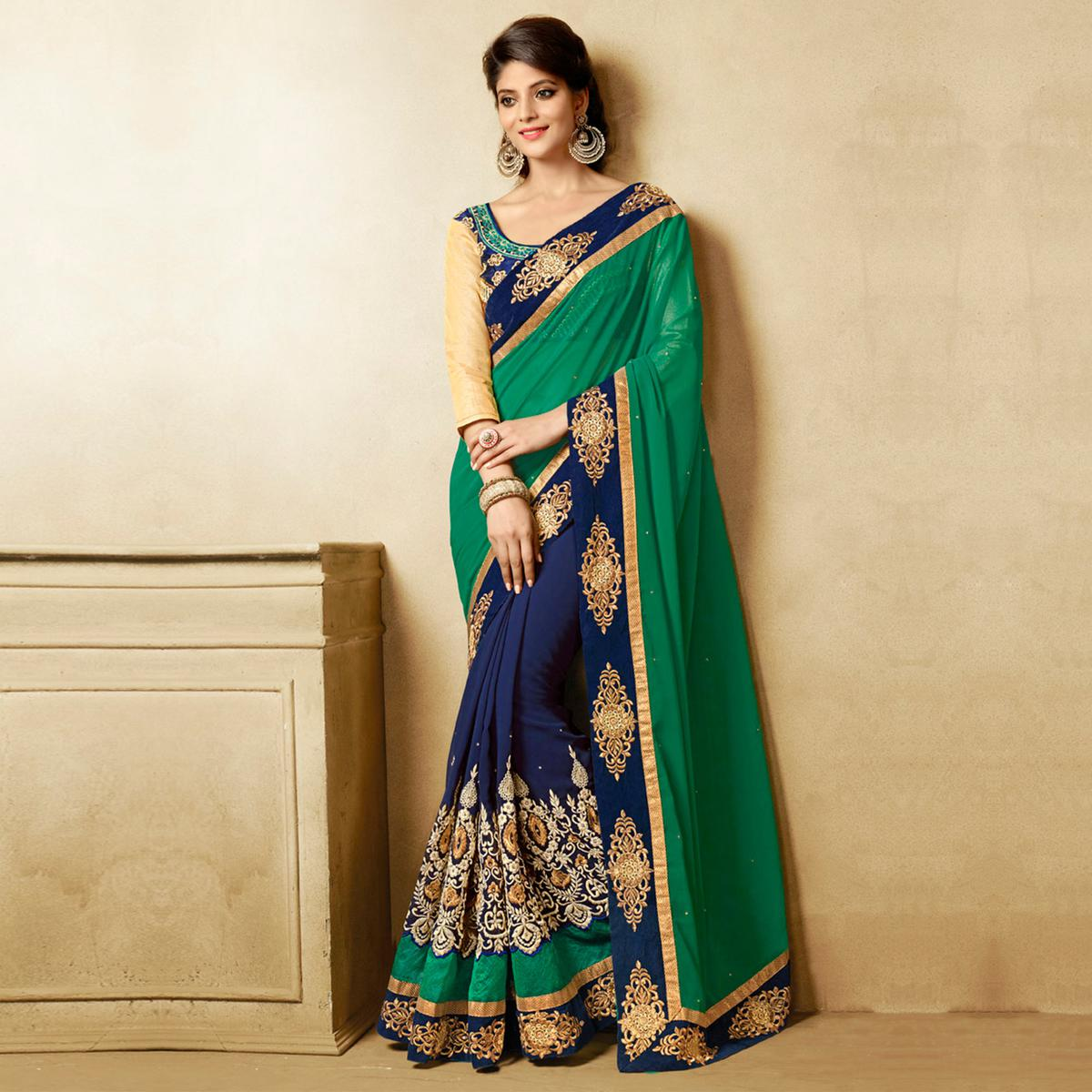 2dcdfefb9d Buy Green - Blue Georgette Half & Half Saree for womens online India, Best  Prices, Reviews - Peachmode