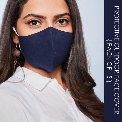 Saree Mall Blue Color Cotton Cloth Mask (Pack of 5)