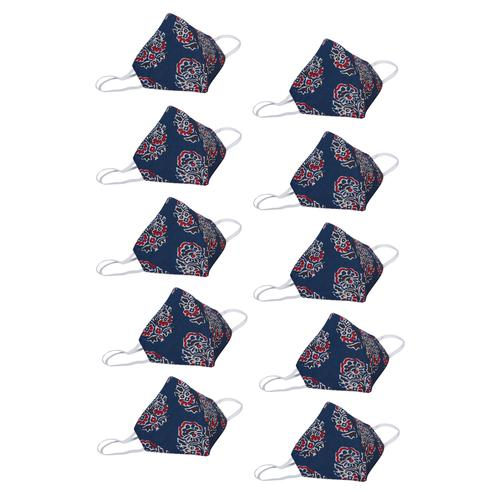Saree Mall Blue Printed Cotton Cloth Mask (Pack Of 10)